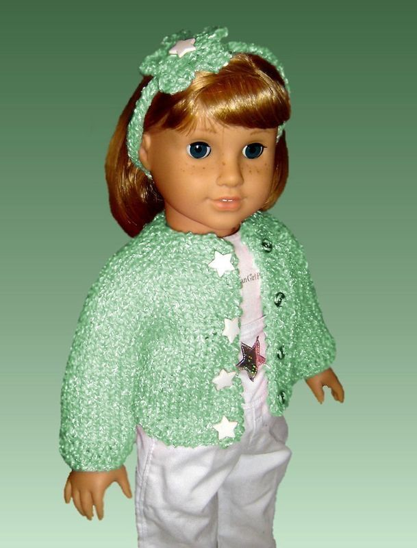Top-Down Seamless Cardigan Knitting Pattern. Fits American Girl Doll. PDF AG 011 - product images  of
