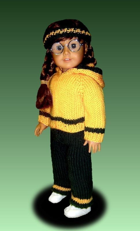 Hoodie and Pants Knitting Pattern. Fits American Girl Doll.18 inch. PDF AG 021 - product images  of