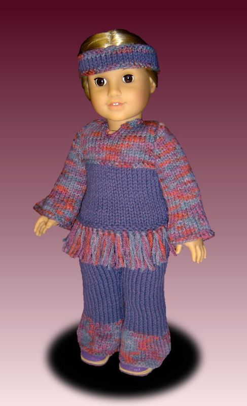 PDF Knitting Pattern for Dolls. Fits American Girl Doll. Tunic and Pants. AG 027 - product images  of