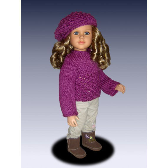 Doll sweater pattern and slouchy hat fits My Twinn Doll, My Bff, 23 inch dolls, PDF 643 - product images  of