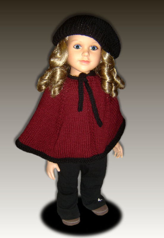 Cape and Beret Knitting Pattern fits My Twinn (My BFF), 23 inch dolls. PDF 618 - product images  of