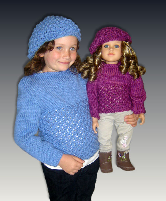 Sweater Knitting Patterns, matching girls and dolls, My Twinn, 23 inch, My Bff 943 - product images  of
