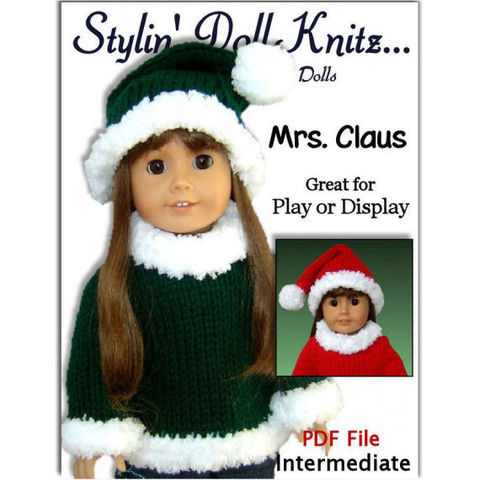 Knitting,Pattern.,Mrs.,Claus.,18,inch,doll.,Fits,American,Girl,Doll.,AG,PDF,005,Patterns,Holiday,Doll,doll_clothing,knitting,american_girl_doll,18_inch_doll,knitting_supplies,doll_clothes_pattern,knitting_pattern,santa_hat_pattern,easy_knit_pattern,AG_sweater_pattern,PDF_Gotz__Maplelea,Christmas_knits,Santa_claus_suit,pdf,pattern
