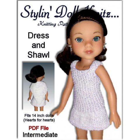 PDF,Knitting,Pattern.,Dress,and,Shawl,Fits,Hearts,for,Doll.,233,knitting pattern,pdf pattern,14 inch dolls.13 inch dolls