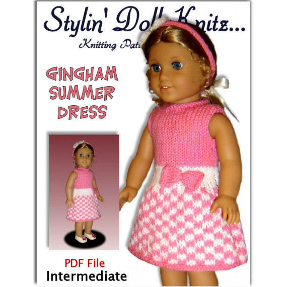 Doll Dress Knitting Pattern. 18 inch, American Girl Doll. AG, PDF 040 - product images  of