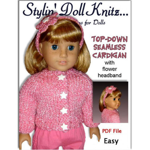 Top-Down,Seamless,Cardigan,Knitting,Pattern.,Fits,American,Girl,Doll.,PDF,AG,011,Patterns,Doll_Clothing,handmade,knitting,american_girl_doll,18_inch_doll,children,knitting_supplies,girls,stylin_doll_knitz,knitting_pattern,doll_clothes_pattern,doll_knit_patterns,PDF_AG_Gotz_Pattern,sweater_cardigan,pdf_pattern