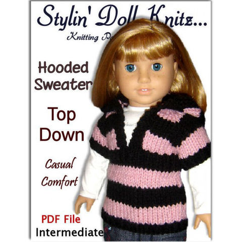 Knitting,Pattern,for,Doll,sweater.,Fits,American,Girl,and,18,inch,,PDF,AG,(Gotz,,Maplelea),037,Patterns,Handmade,doll_clothing,18_inch_doll,american_girl_doll,maplelea_girl,gotz,children_and_girls,hooded_sweater,doll_accessories,stylindollknitz,knitting_pattern,doll_clothes_pattern,pdf_doll_pattern,AG_doll_pattern,pdf,pattern
