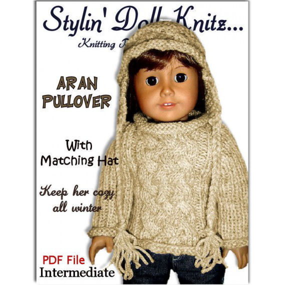 Fits American Girl. Knitting pattern, AG doll Aran Sweater, 18 inch PDF 009 - product images  of