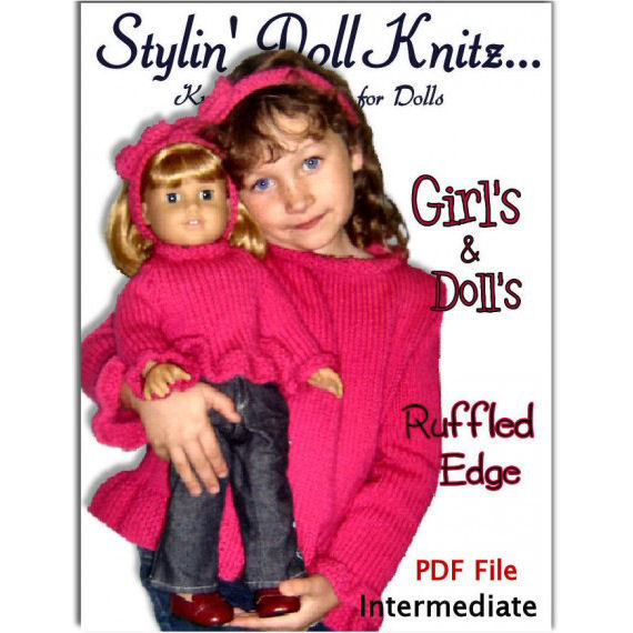 Sweater Knitting Patterns, fits girls 4-10, American Girl Doll. 18 in.  PDF, 542 - product images  of