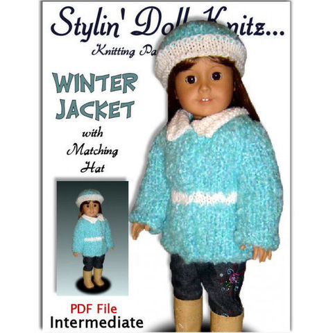 Knitting,Pattern,for,dolls.,Fits,American,Girl,and,18,inch,Gotz,,AG,,036,Patterns,doll_clothing,handmade,american_girl_doll,gotz,18_inch_doll,winter_doll_clothes,free_shipping,maplelea_girl,stylindollknitz,knitting_pattern,Pdf_knit_pattern,Jacket_and_hat,Madame_Alexander,pdf,pattern