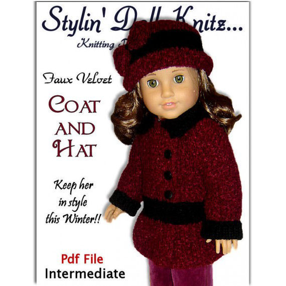 PDF Knitting Patterns for doll clothes, Fit American Girl Doll, 18 inch doll 07 - product images  of
