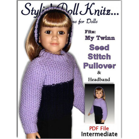 Pdf,Knitting,Pattern,fits,23,inch,dolls,,My,Twinn,(My,BFF),,Sweater,and,Headband,,601,pdf knitting pattern, knit pattern, My twinn doll, my bff doll, 23 inch dolls,sweater pattern,headband pattern, winter clothes,doll clothes