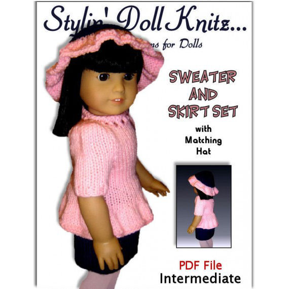 PDF knitting Patterns, Fit American girl Doll, 18 inch Doll, Gotz Clothes 04 - product images  of