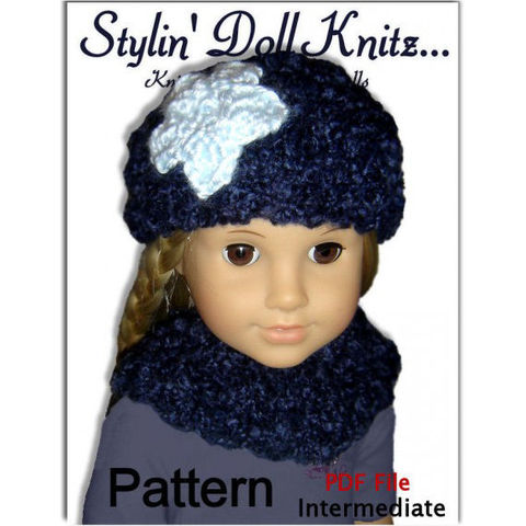 Hat,knitting,pattern,fits,18,inch,,American,Girl,dolls,,Journey,girls,,PDF,102,Maplelea Girls, Madame Alexander, Journey Girls, Springfield Doll Collection, Gotz, Carpatina Dolls, Favourite Friends and Disney princess Dolls, flowered beanie,neck warmer,doll clothes,knit pattern,knitting pattern,pdf pattern,doll clothing instructions