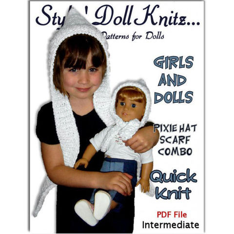 Knitting,pattern.,Matching,Girl,and,Doll,Pixie,Hat,Scarf,Combo.,American,Girl,,PDF,,406