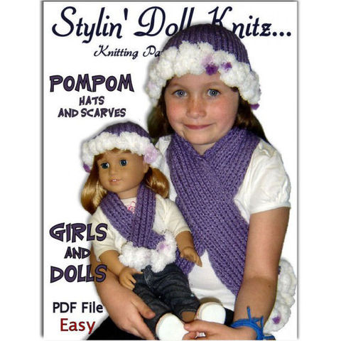 PDF,Knitting,pattern.,PomPom,Hat,and,Scarf.,Girls,American,Girl,Doll,,18,inch,doll.,405,knitting pattern,hat pattern,scarf pattern,childrens knit pattern,girls scarf pattern 18 inch doll hat pattern.18 ionch doll. journey girl clothes,Maplelea girl. Gotz knit hat