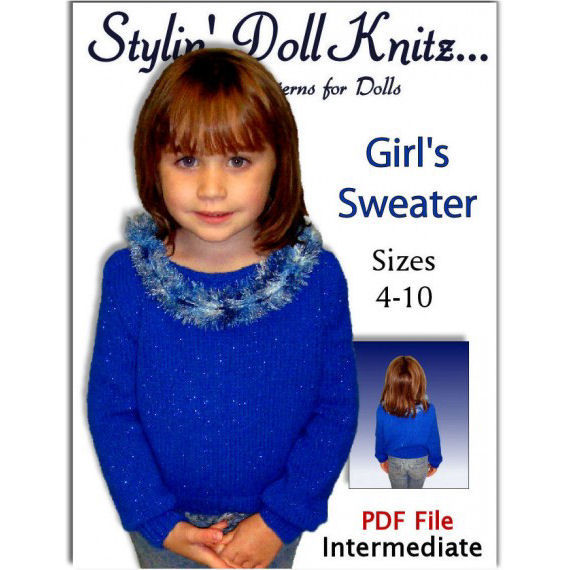 Girls Knitting Pattern, Pullover Sweater, children's clothes. PDF 341 - product images  of