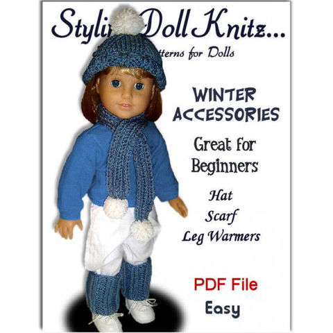 Knitting,Pattern,for,American,Girl,and,18,inch,dolls.,Winter,Accessories,103,Patterns,Handmade,doll_clothing,gotz,18_inch_dolls,maplelea_girl,kids,girls,toys,leg_warmers,hat,scarf,doll_accessories,knitting_pattern,American_Girl_Doll,pdf,pattern