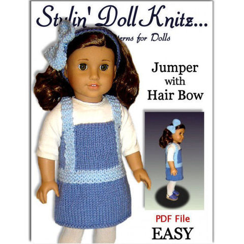 Doll,Jumper,Knitting,Pattern,,for,American,Girl,and,18,inch,doll.,030,Patterns,handmade,doll_clothing,holiday,american_girl_doll,18_inch_doll,dolls,maplelea_girl,knitting_pattern,Gotz,doll_clothes_pattern,Quick_knit_pattern,easy_pdf_pattern,jumper_and_bow,pdf_file,pdf_knit_pattern