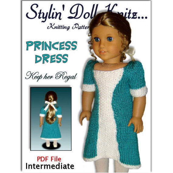 "Knitting Pattern for Doll Dress, American Girl and 18"" PDF AG. 038 - product images  of"