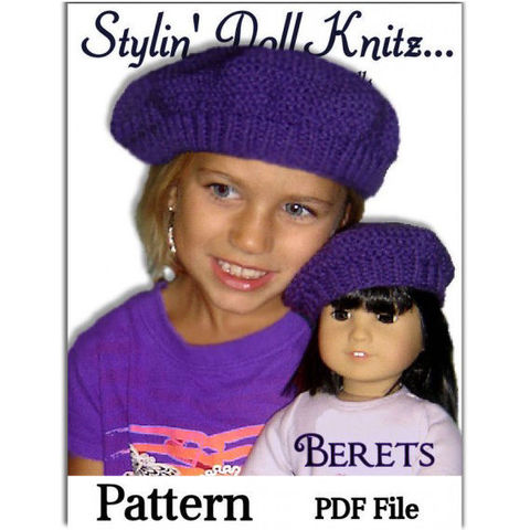 Hat,Knitting,pattern.,Matching,Girl,and,Doll,Beret.,PDF,,401,Patterns,knitting_pattern,American_Girl_doll,Girls_Beret_pattern,Maplelea_Girl,18_inch_doll,pdf_hat_pattern,Girls_hat_pattern,Madame_Alexander,doll_clothes,quick_knit_pattern,match_girl_and_doll,mushroom_hat,slouchy_hat