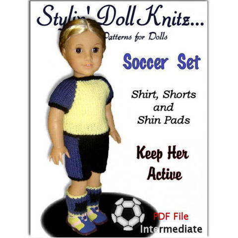 Doll,clothes,knitting,pattern.,Fits,American,Girl,Doll.,PDF,,AG,Soccer,Set,023,Patterns,Doll_Clothing,handmade,american_girl_doll,children,doll,18_inch_dolls,knitting_supplies,girls,kids,stylin_doll_knitz,soccer_set,knitting_pattern,doll_clothes_pattern,pdf,pattern