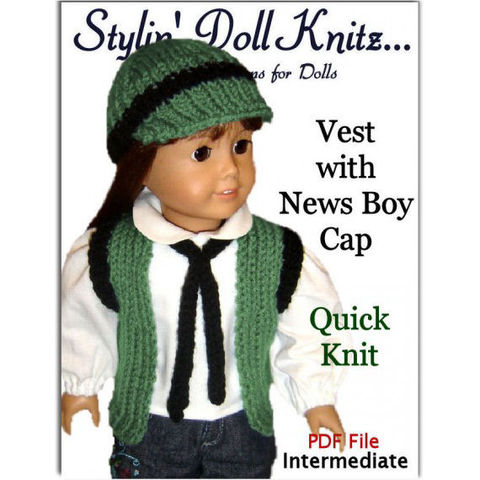 18,inch,doll,knitting,pattern.,Fits,American,Girl.,Vest,and,newsboy,Cap,010,Patterns,Knitting,Hat,dolls,american_girl_doll,doll_clothing,girls_toys,doll_accessories,knitting_supplies,18_inch_doll,stylin_doll_knitz,PDF_Knitting_pattern,doll_knit_pattern,Gotz,doll_vest,Doll_Newsboy_Cap,pdf,pattern
