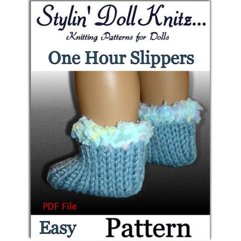 PDF,Knitting,Pattern,,fits,American,Girl,Doll,,One,hour,slippers,100,Patterns,Doll_Clothing,accessories,handmade,holiday,american_girl_doll,18_inch_dolls,knitting_supplies,girls,stylin_doll_knitz,ag_doll,doll_clothes_pattern,Quick_and_easy_knit,PDF_Knitting_Pattern,yarn,scraps,pdf,knitting_pattern