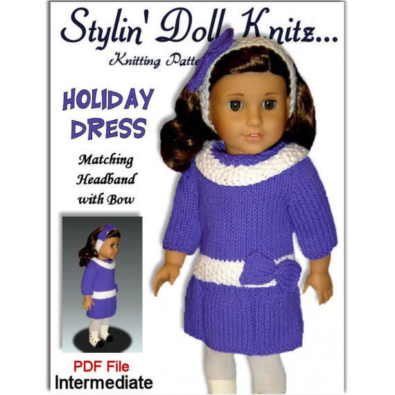 Knitting Patterns for 18 inch and American Girl dolls. PDF, AG Clothes 06 - product images  of