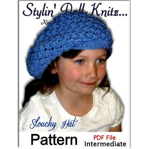 Girls,Slouchy,Hat,Knitting,Pattern.,1307,knitting pattern,hat pattern,slouchy hat,pdf pattern,knit tutorial,hat instructions,winter accessories