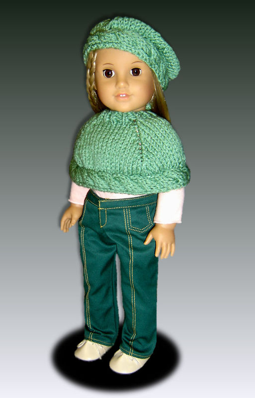 Knitting pattern for 18 inch Doll, (American Girl) Capelet and Beret, 044 - product images  of