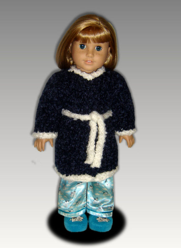 Knitting Pattern for American Girl and 18 inch dolls. Bathrobe, Housecoat. PDF, 110 - product images  of