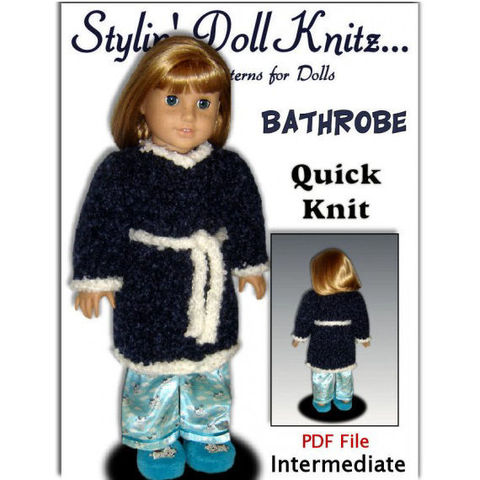 Knitting,Pattern,for,American,Girl,and,18,inch,dolls.,Bathrobe,,Housecoat.,PDF,,110