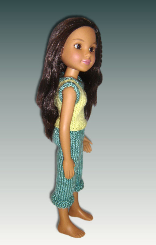Doll clothes knitting pattern for BFC, Ink. dolls Capri pants and top. PDF 752 - product images  of