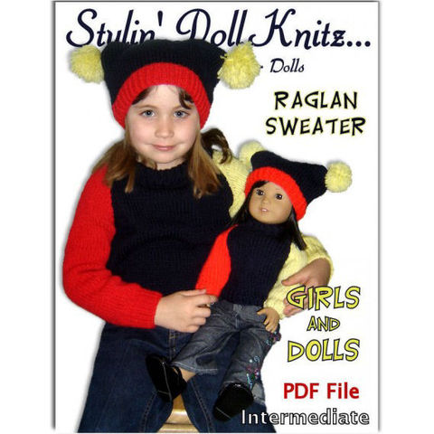 Knitting,Patterns,for,American,Girl,Doll,and,Girls.,18,inch.,knitting patterns,Girls sizes 4-10,American Girl Doll, 18 inch doll, Maplelea Girl,Journey Girls, Raglan Sleeve Pullover,Jester Hat