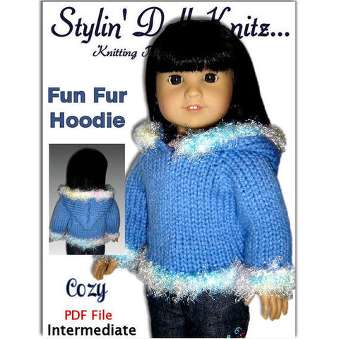 Knitting,Pattern,Doll,Hoodie,,fits,American,Girl,and,18,inch,dolls.,PDF,,047,knitting pattern,knit tutorial,American Girl Doll,18 inch doll,Journey Girls,Maplelea Girl, Stylin Doll Knitz,doll clothes