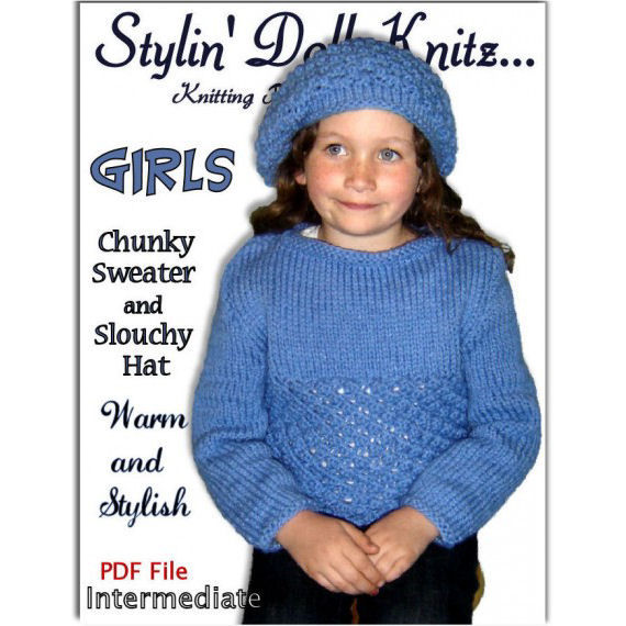 Knitting Pattern for Girls. Chunky Sweater and Slouchy hat. PDF, 343 - product images  of