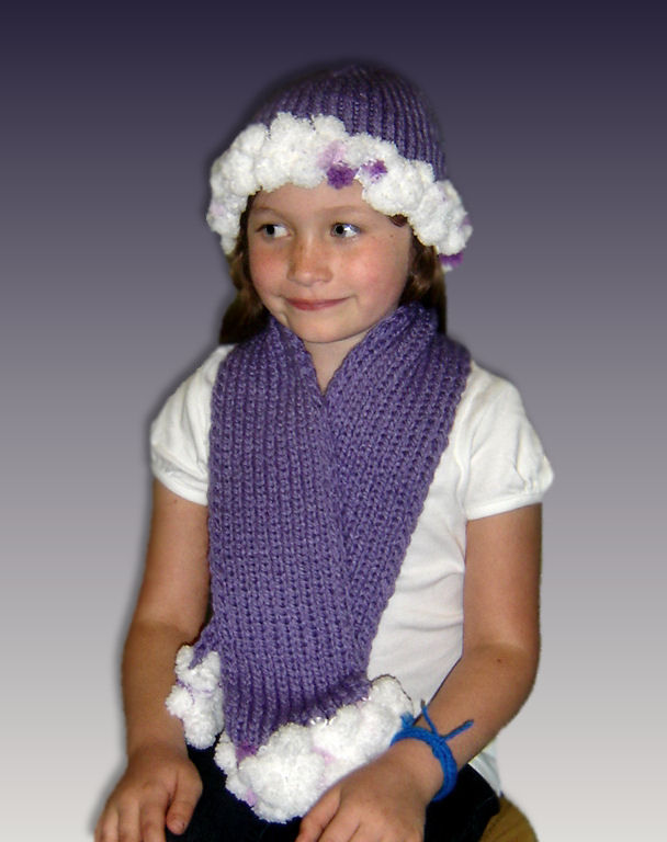 Knitting Pattern, PomPom Hat and Scarf, Girls 4-10, PDF File 1305 - product images  of