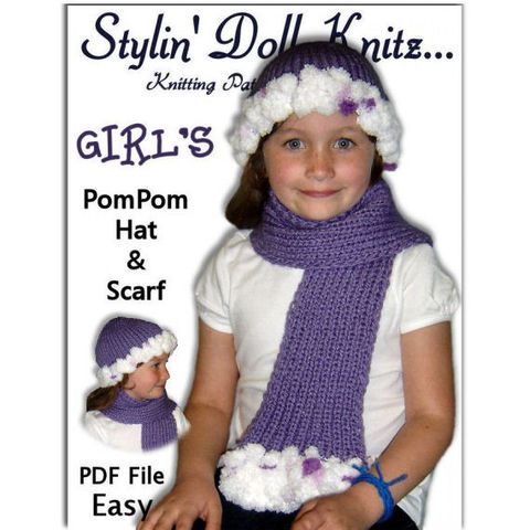 Knitting,Pattern,,PomPom,Hat,and,Scarf,,Girls,4-10,,PDF,File,1305,knitting pattern,hat pattern,knit tutorial,pom pom hat,scarf pattern,Stylin Doll Knitz