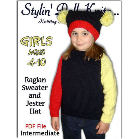 Girls,Sweater,Knitting,Pattern,,Raglan,Sleeves,Pullover,PDF,308,knitting pattern,girls pullover,raglan sweater,jester cap,knit tutorial,knitting instructions,kids clothes,Stylindollknitz