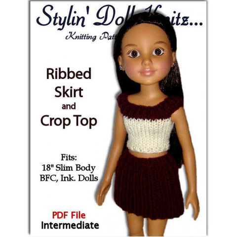 Knitting,Pattern.,Fits,BFC,,Ink,Doll.,18',slim,doll,,Skirt,and,Crop,Top,PDF,754,knitting pattern,BFC Ink. doll,18 inch slim doll,skirt and top,knitting tutorial,stylindollknitz
