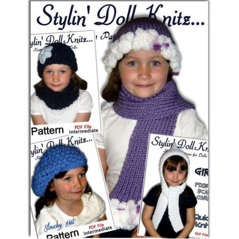 Knitting,patterns.,Hats,,scarf,,cowl,for,girls,sizes,4-10,,Four,Sets,,PDF,30,knitting patterns,hat sets,hat and scarf sets,cowl neck warmer,slouchy hat,girls winter clothing,stylindollknitz,Jo MacKinnon
