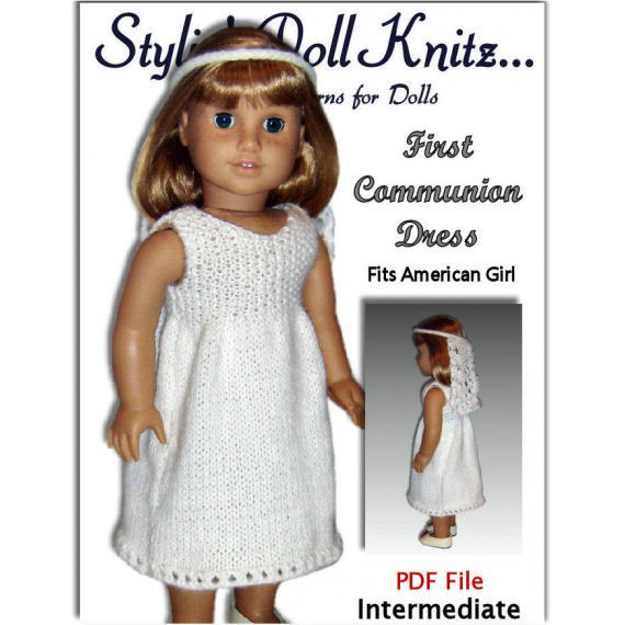 Knitting Pattern for Communion Dress, fits American Girl Doll and 18 in. dolls. PDF AG 107 - product images  of