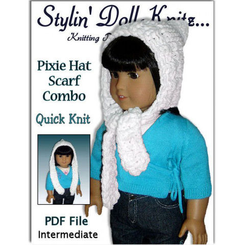 Knitting,Pattern.,Fits,18,inch,,American,Girl,,Pixie,Hat,,Scarf,Combo,106,Patterns,Doll_Clothing,doll_clothing,18_inch_dolls,maplelea_girl,knitting_pattern,American_Girl_Doll,Journey_Girls,Gotz_clothes,StylinDollKnitz,pdf_instructions,Hat_Scarf_Combo,Pixie_hat,knitting,pattern,pdf
