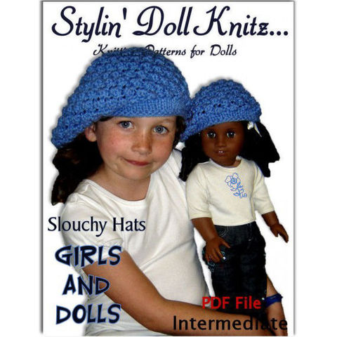 Knitting,pattern.,Slouchy,Hat,(Beret),Matching,Girls,and,American,Girl,,18,inch,doll.,407,Patterns,knitting_pattern,American_Girl_doll,Maplelea_Girl,18_inch_doll,Madame_Alexander,match_girl_and_doll,Our_Generation_Doll,Journey_Girls,pdf_knit_instruction,Stylin_Doll_Knitz,DIY_winter_clothes,Slouchy_Hat_or_beret,kids_hats,pdf patter