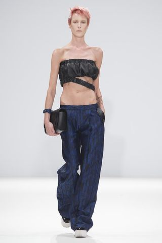 IN,STOCK,-,NAPPA,CROPPED,TOP,WITH,LOOSE,HEM,blue, trousers, black, cropped, leather, top, straight, leg
