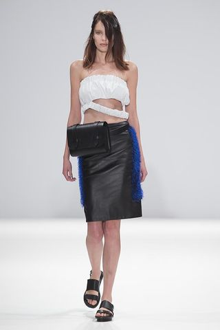 NAPPA,CROPPED,TOP,WITH,LOOSE,HEM/,SAPPHIRE,LEATHER,PENCIL,SKIRT,NAPPA ,CROPPED , LOOSE ,HEM, SAPPHIRE, LEATHER, PENCIL, SKIRT, JWH, SPRING, SUMMER, 2015, ss15, Jamie, Wei, Huang