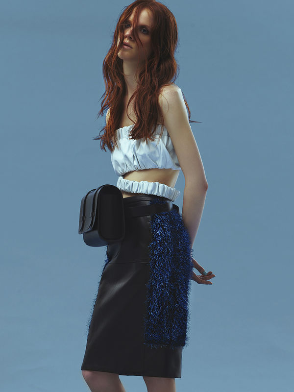 IN STOCK - NAPPA CROPPED TOP WITH LOOSE HEM/ SAPPHIRE LEATHER PENCIL SKIRT - product image