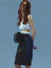 IN STOCK - NAPPA CROPPED TOP WITH LOOSE HEM/ SAPPHIRE LEATHER PENCIL SKIRT - product images 2 of 2
