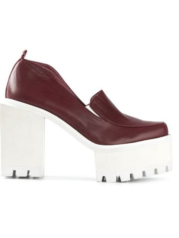 IN,STOCK,-,SQUARE,LEATHER,HIGH,HEEL,SQUARE LEATHER HIGH HEEL, Chunky, White heel, Matte Wine, High heel, AW14, Jamie Wei Huang